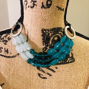 "Jewelry - 16"" Turquoise, silver, and brown necklace"